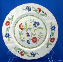 "Villeroy and Boch Persia Dinner Plate Floral Red Trim 10-3/8"" Scalloped - $72.27"