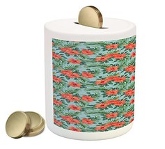 Luau Piggy Bank by Ambesonne, Exotic Summer Bouquet Design with Hibiscus... - $30.63
