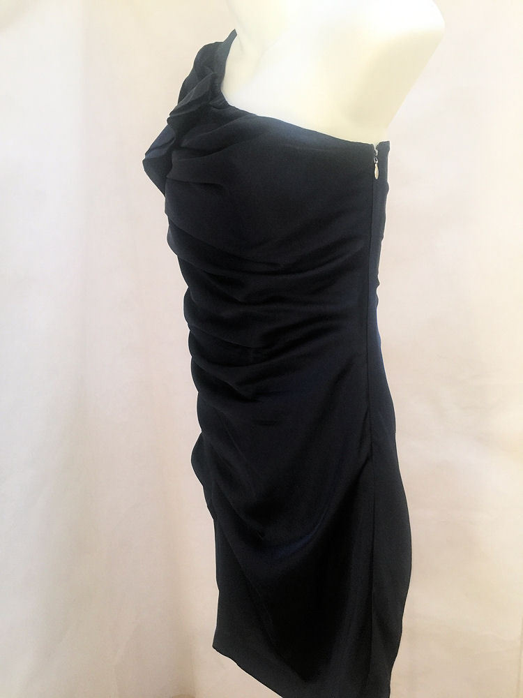 Express Sz 2 Dress Blue Ruched One Shoulder Bodycon Mini Cocktail Clubwear image 2