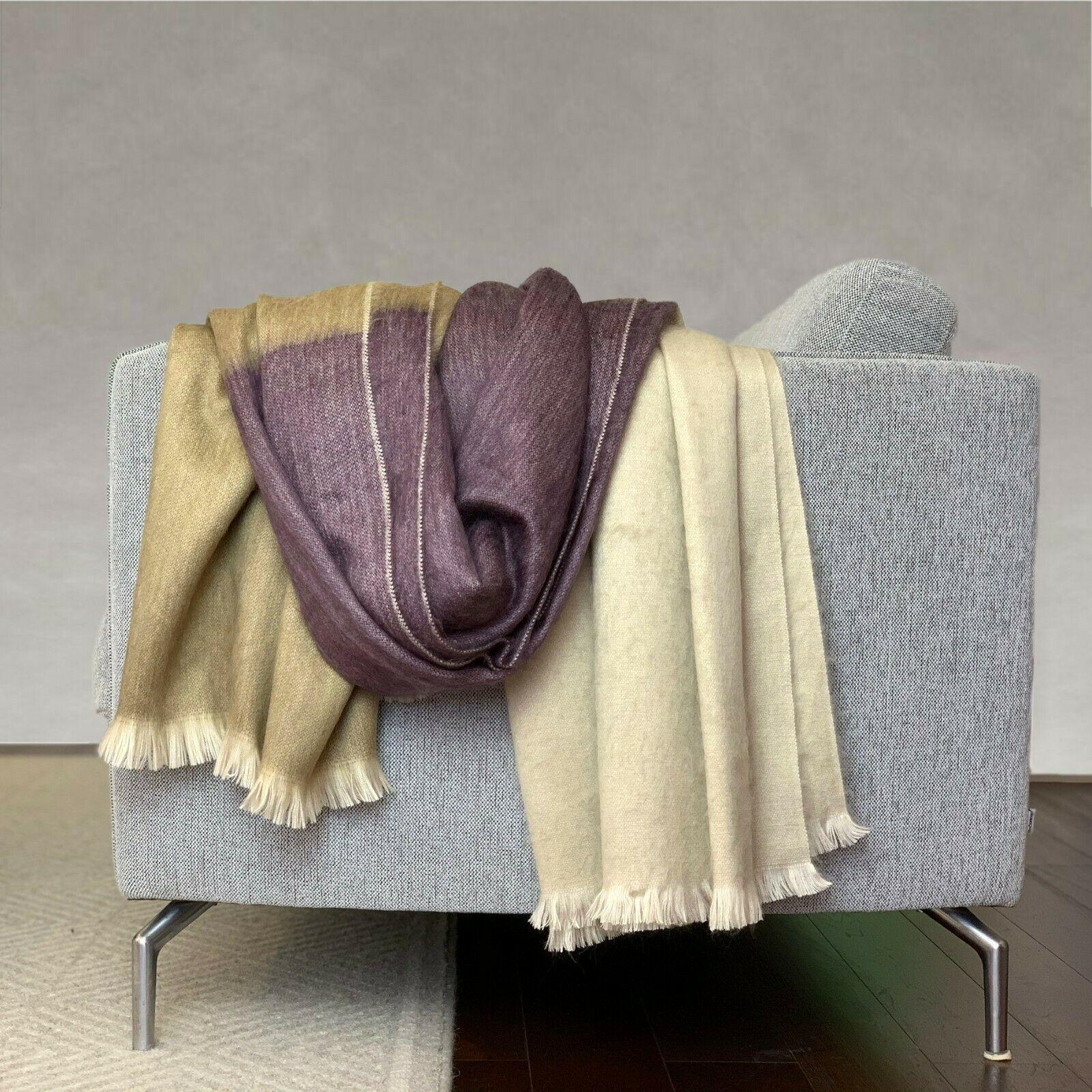 Alpaca Wool Throw Blanket Fringe Soft & Warm for Comfort & Style QUEEN 95x65 in - $69.25