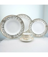 Darbie Angell Athena Gold Large Rimmed Soup Bowl 24K Gold Place Setting 5 - $60.78