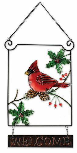 Metal & Glass Winter Holiday Cardinal Seasonal Hanging Welcome Sign Decor