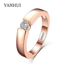 YANHUI New 100% Original 18KRGP Stamp Rose Gold Rings Set 5mm 0.5 Carat ... - $25.72