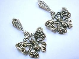Butterfly Marcasite Stud Earrings 925 Sterling Silver Dangle Corona Sun  - $19.79