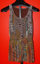 Glam Brown Scoop Neck Lined Tank Top Size Small Long Length - $9.99