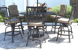 "Outdoor bar set 7 piece cast aluminum furniture Grand Tuscany 60"" round table image 3"