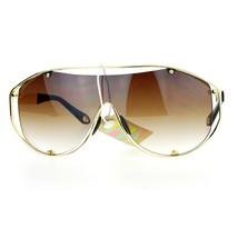Shield Aviator Sunglasses Unisex Fashion Futuristic Oversized Metal Frame - $11.65