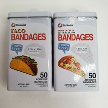 BioSwiss Pizza and Taco Novelty Adhesive Bandages 50 Count Tin Set of 2  - $13.99