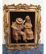 Vtg Wood 3D Wall Art Sculpture Relief Spanish Man Woman Guitar Velvet 25... - $222.87