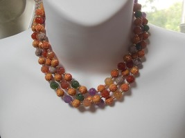 Multi-Color Carved Plastic Rose Bead Long Necklace  - $19.79