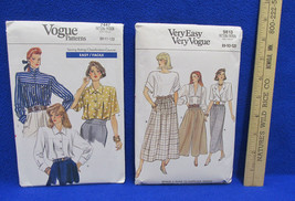 2 Vogue Sewing Patterns Blouse Top Shirt Skirt Culottes Size 8 10 12 New Uncut - $8.90