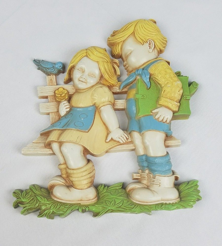 Vintage Homco wall decor two kids sitting on and similar items