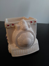 Vintage Hand Painted White Flowered Train Ceramic Planter Made in China image 2