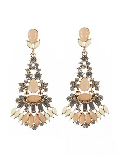 Formal Chandelier Glass Crystal Stone Dangle Earrings (Natural)