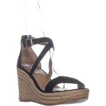 Steve Madden Montaukk Espadrille Sandals, Black Suede, 9.5 US - $27.83