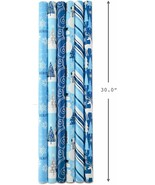 Hallmark Holiday Wrapping Paper Bundle with Cut Lines on Reverse, Blue + Silver  - $19.80
