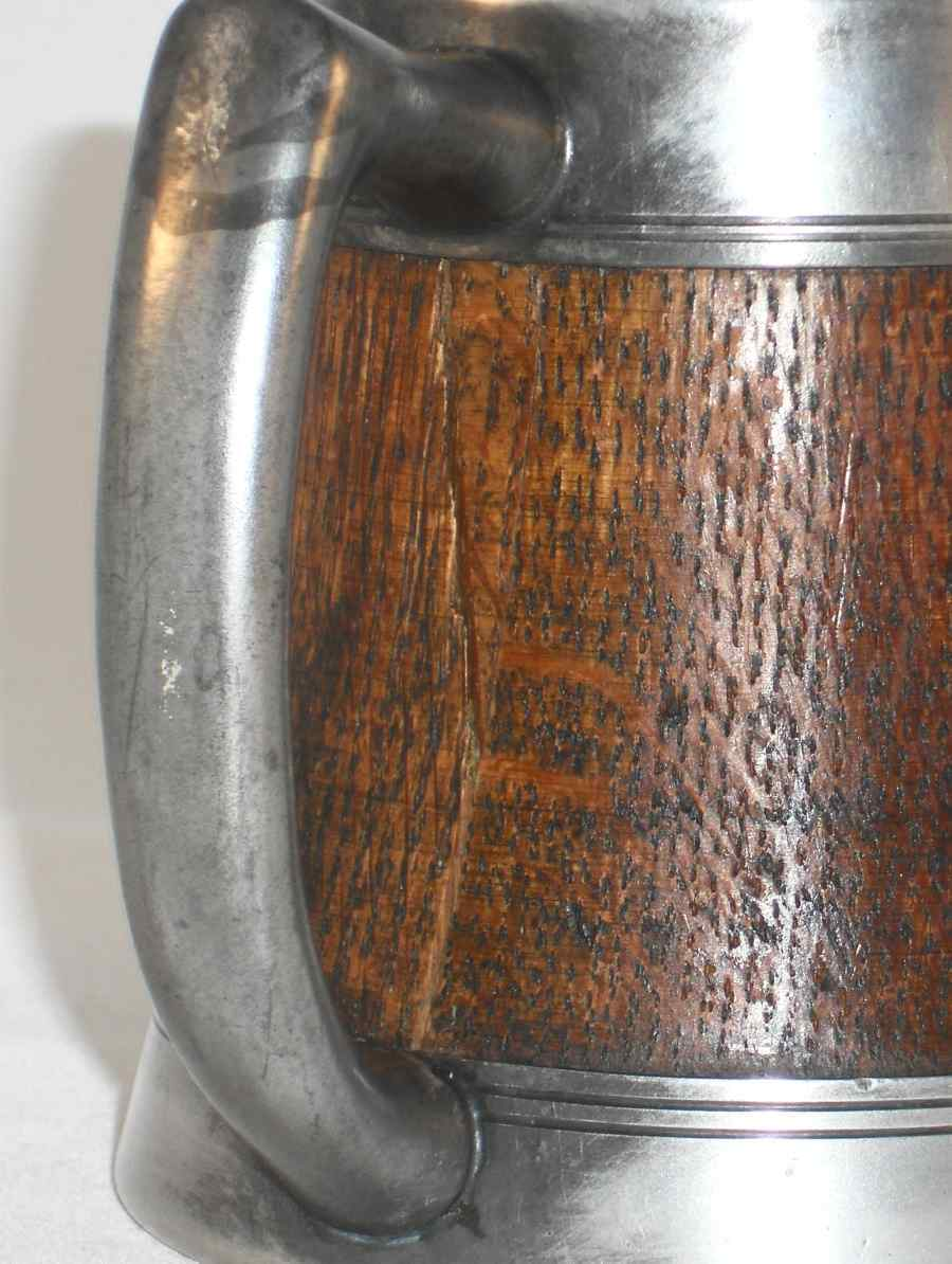Antique Arts and Crafts Silver Plate and Finnish Oak Stein St. Louis Silver Co.