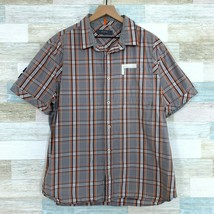 Cavi Plaid Button Front Shirt Gray Orange Short Sleeve Applique Mens XXL... - $24.74