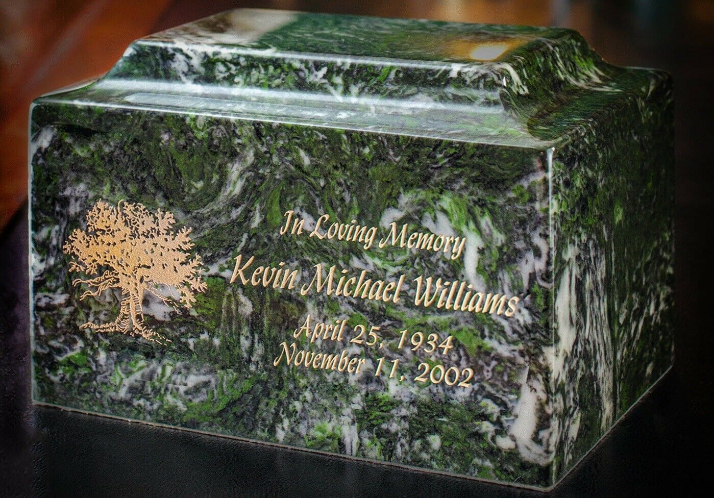 Small/Keepsake Marble Emerald Funeral Cremation Urn, 5 Cubic Inches TSA Approved