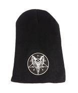 Satanic Goats Head Pentagram Patch Black Beanie - $18.00