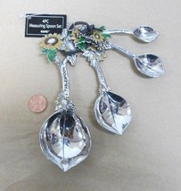 4pc LEAF & SUNFLOWER measuring spoon set Silver Metal MOTHERS DAY SPRING... - $19.27