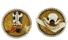 Lunch at the Ritz Post Earrings Rodeo Cowboy Hat & Boots Crystal Rhinest... - $41.58