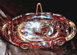 """Goldstone Carnival Glass Lily Pond Pattern 9"""" Oval Relish BowlAA18-1363Vintage image 4"""