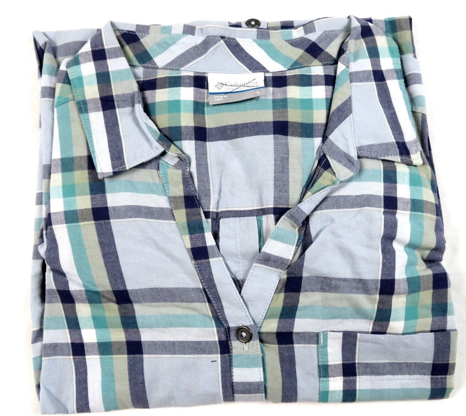 Large Columbia Women's Shirt Long Sleeve V-Neck Button Down Purple Dahlia