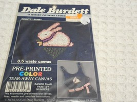 Country Bunny Cross Stitch Kit Pre-Printed Color Tear-Away Canvas Dale B... - $5.38