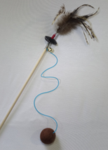 Cat toys teaser wand & wool ball with feathers, Interactive toys  - $19.99