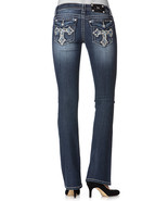 MISS ME ~SIZE 28~ Cross Pocket Rhinestone Embellished Boot Cut Womens Bl... - $70.99