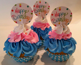 Happy Birthday Cupcake Pink Blue Prop Decoration Confetti Set of 3 Fake Cake - $23.75
