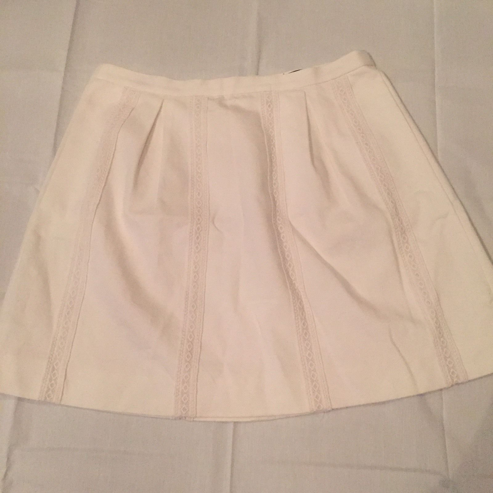 J. Crew White Lace Stripe Mini Skirt Size 10 Lined