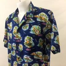 Hilo Hattie Hawaiian Aloha Shirt 2XL Blue Big Kahuna Floral Vintage 100%... - $39.99