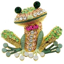 Whimsical Crystal Frog Brooch Pin ~ 77 Inset Colorful Crystals ~ Antique... - $31.83
