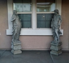 Estate Statues Vintage Concrete Hunter & Huntress Statues with Pedestals - $1,183.05