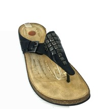 """Clarks Unstructured """"Un Drizzle"""" Black Leather Studded Thong Sandals Size 9 Med - $24.74"""