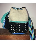 Authentic 100% Wayuu Mochila Colombian Bag medium Size dots natural colo... - $52.00
