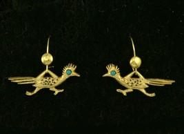 J.Ritter Roadrunner Earrings Gold Southwest Bird Vintage Signed - $12.99