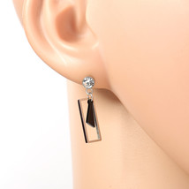 Silver Tone Designer Earrings, Swarovski Style Crystals & Black Dangling Accent - $16.99