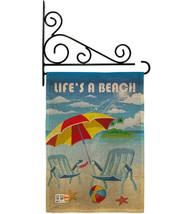 Life's a Beach Burlap - Impressions Decorative Metal Fansy Wall Bracket Garden F - $33.97