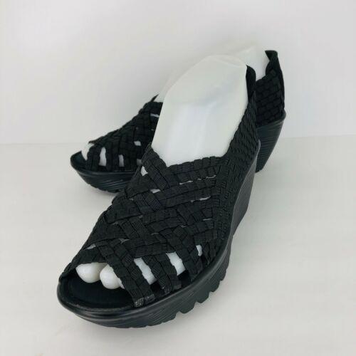 Details about Skechers Memory Foam Black Woven 5.5 Shoes Comfort Walking Wedge Heels Peep Toe