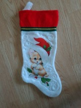 Vintage Morehead Inc Cat Kitten Stocking White Red Christmas Holiday Dec... - $14.80
