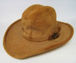 Henschel Skullys Tan Suede Cowboy Western Leather Hat W/FEATHER Band Vintage - $46.93