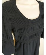 Style & Co Black Knit Sweater Dress Smocked 3/4 Sleeves Size M - $14.99