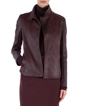 Professional Style Front button Women Genuine Soft Lambskin Leather bike... - $145.00