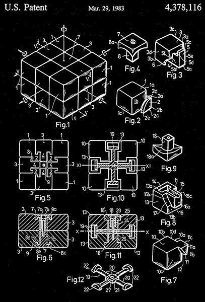 Primary image for 1983 - Rubik's Cube Toy - E. Rubik - Patent Art Poster