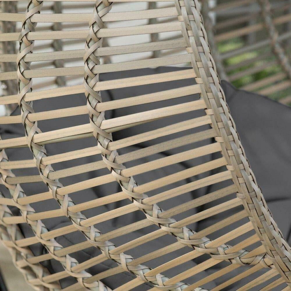 Hanging Chair Set Grey Wicker Egg Wicker w/Cushion Patio Lounge Chair Boho Chic image 3