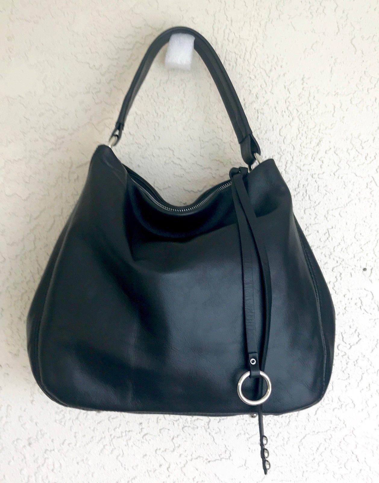 Black Made in Italy Calfskin Smooth Leather Hobo Handbag Shoulder Bag Satchel