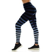 K-Deer Women's Blue/Black/Grey Emme Stripe Sneaker Length Leggings, XS-4X image 4